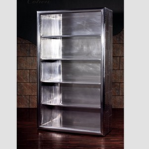 aviator room reproduction commercial industrial aluminum antique bookcase cabinet