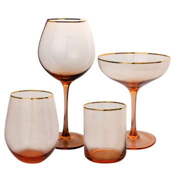 Hot sale best selling pink glasses gold rim glass wine glasses set of 4