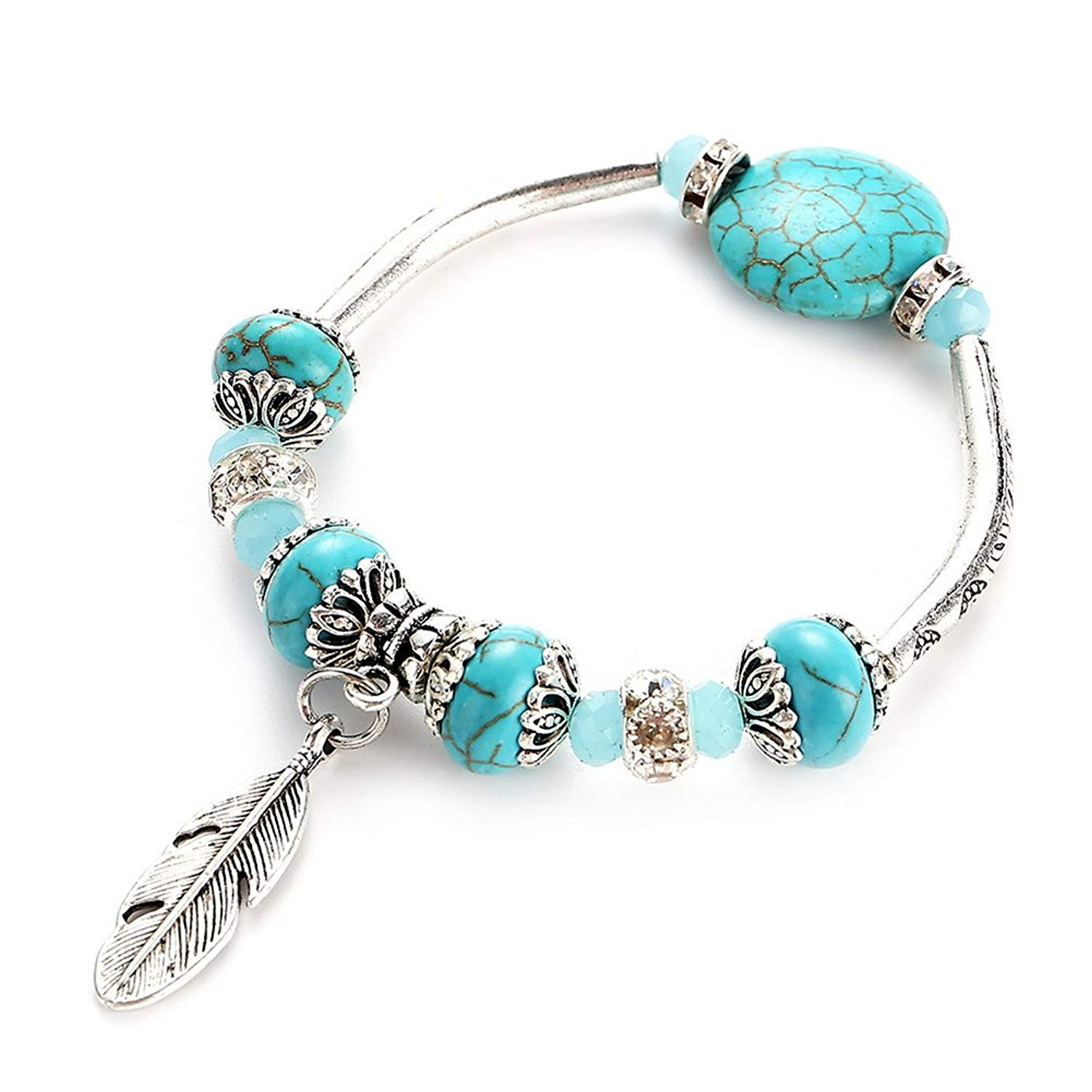 Vintage Turquoise Bead Stretch Bracelet with Leaf Charm Boho Style Antique Silver Bangle for Women Girls