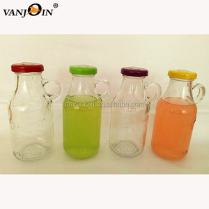 Custom Made Glass Bottle 250ml Juice Organic with Screw Cap Straws