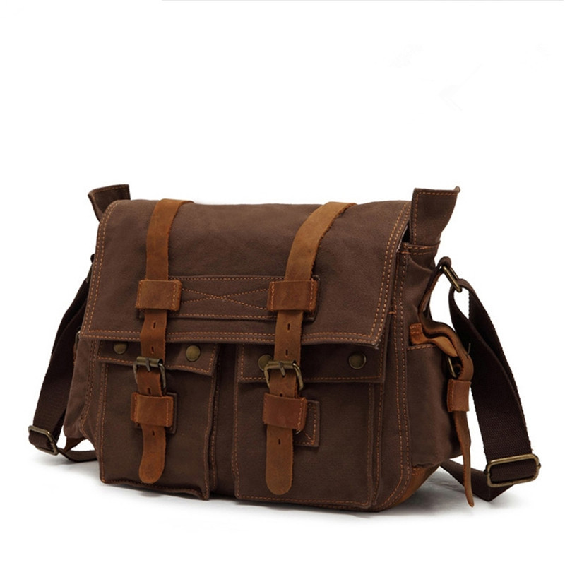 Hot 2015 New design fashion black men messenger bags high quality canvas bag vintage brown men shoulder bags casual travel bags