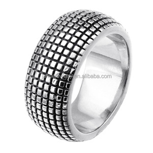 Hip Hop Trendy Tired Thread Ring 10mm Spikes Stainless Steel Men Ring