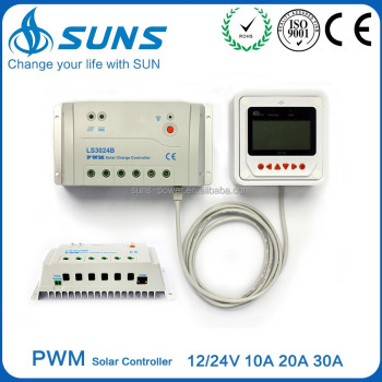 PWM 12/24V 30A solar voltage controller with remote panel