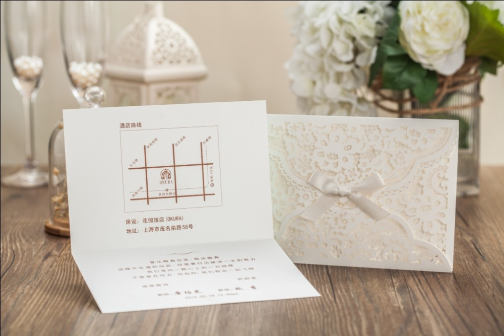 White Laser Cover Wedding invitation card With Green Inner Sheet ...