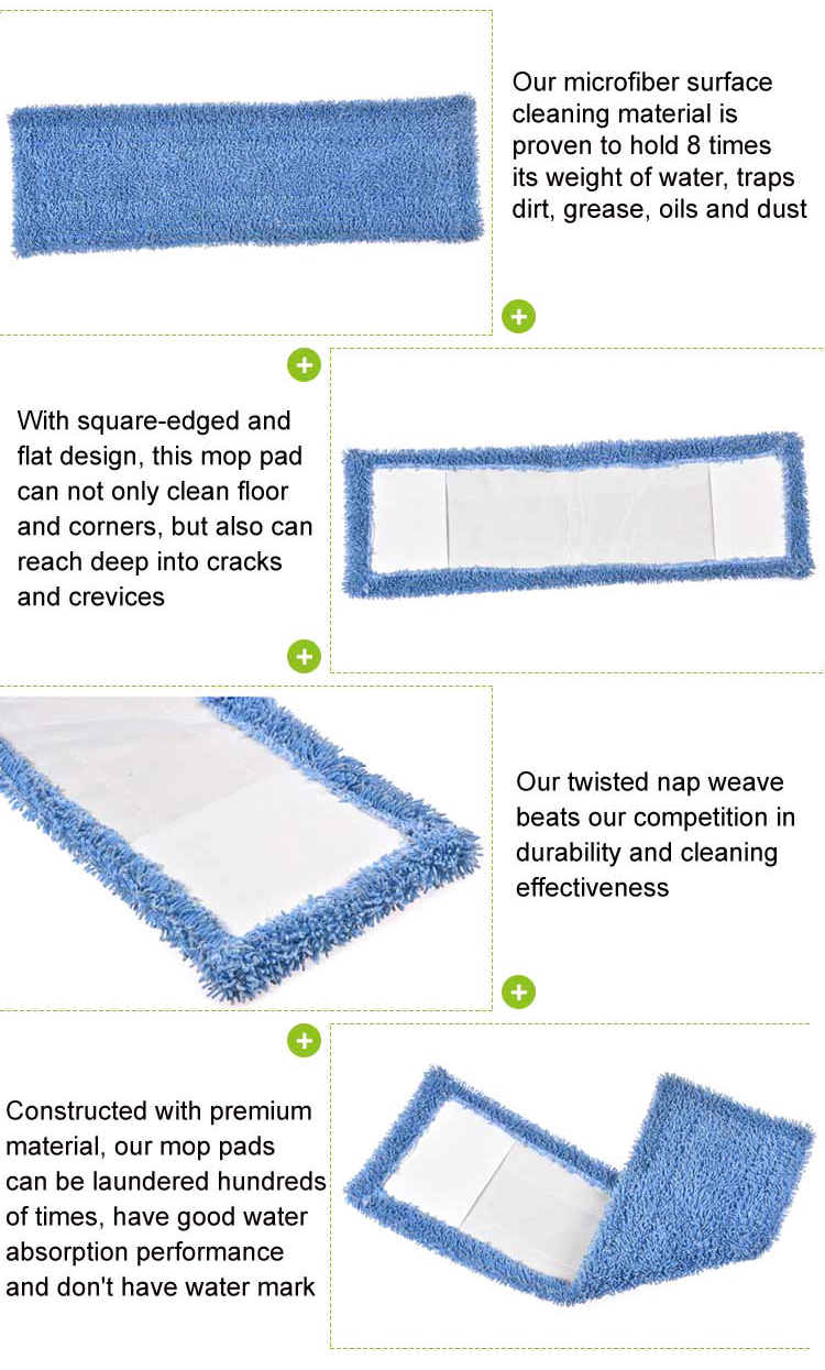 Eco-friendly professional washable blue microfiber mop pads