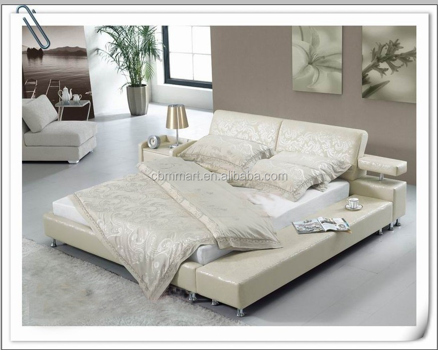 White Leather Bed/ Italian Leather Bed /leather Round Bed - Buy ...