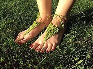 Green Beach Wedding Sandals,Wedding Accessory,Sexy Beach Sandals, Crochet Barefoot Sandals, Barefoot Sandals , Crochet Anklet, Sexy Lace Sandals,Beach,Wedding Footwear, Bridesmaid Sandals (Green-04)