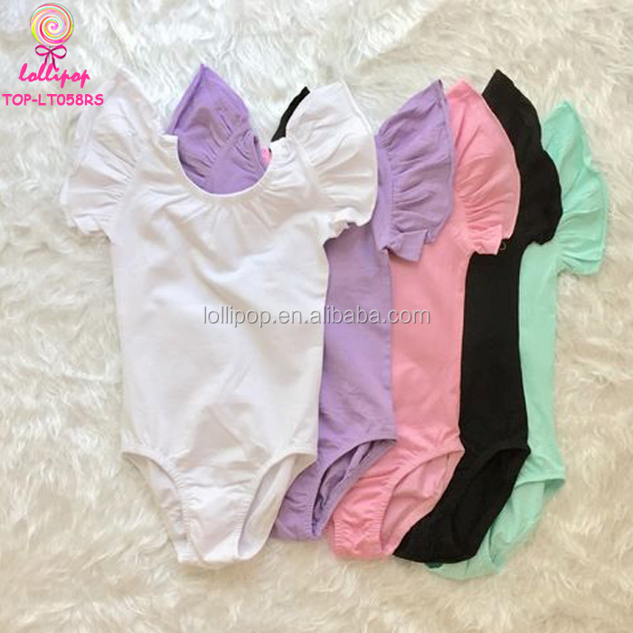 Wholesale Ballet Dance Costume Leotards Toddler Kids Ballet Leotard White Cotton Spandex Girls Flutter Sleeve Leotard
