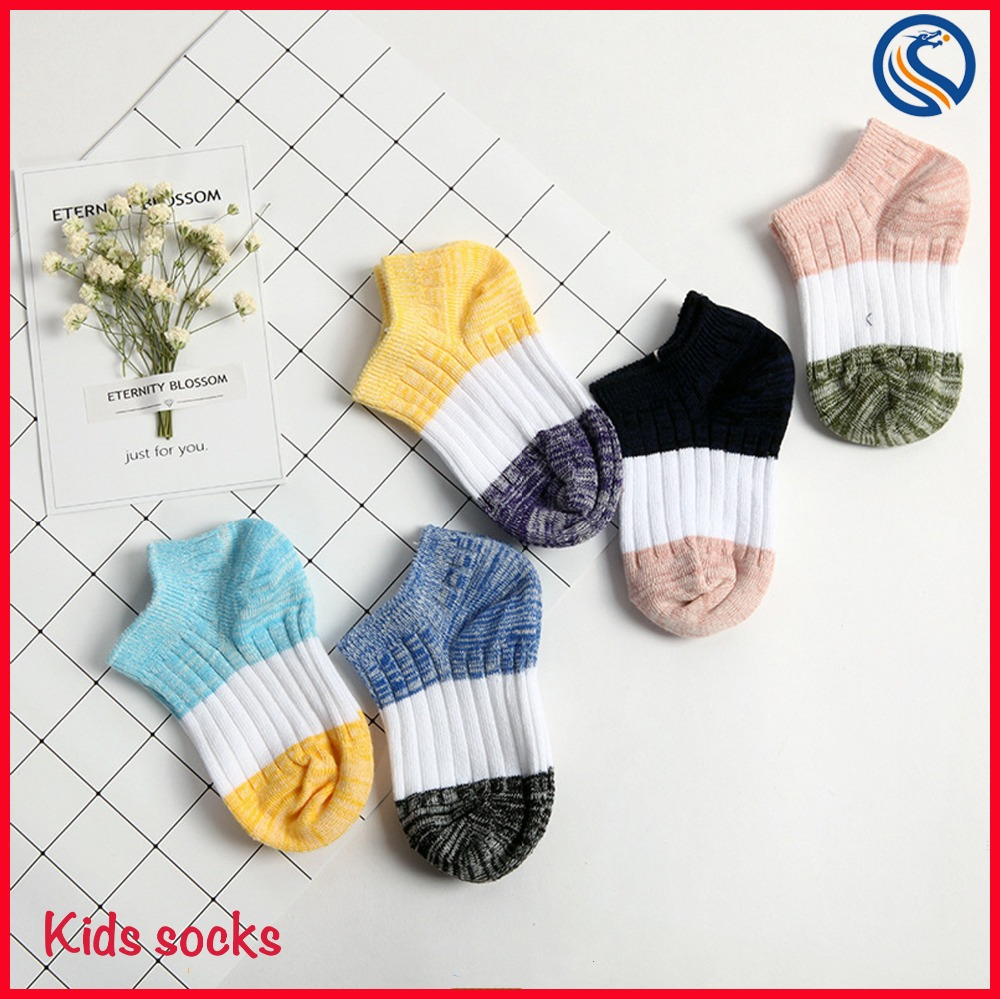 Candy rainbow Colorfuls baby kids cotton worsted socks anti slip socks