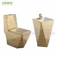 HOT sale ceramic one piece bathroom gold toilet set for hotel