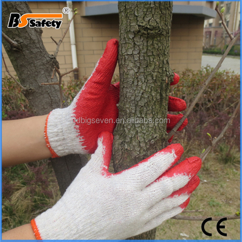 BSSAFETY Wholesale black Latex coated red cotton knitted work glove
