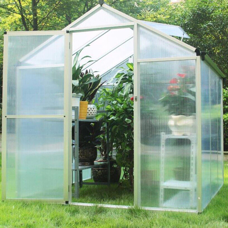 Sliverylake Outdoor Garden Heavy Duty Polycarbonate Walk-in Greenhouse (6'x6')