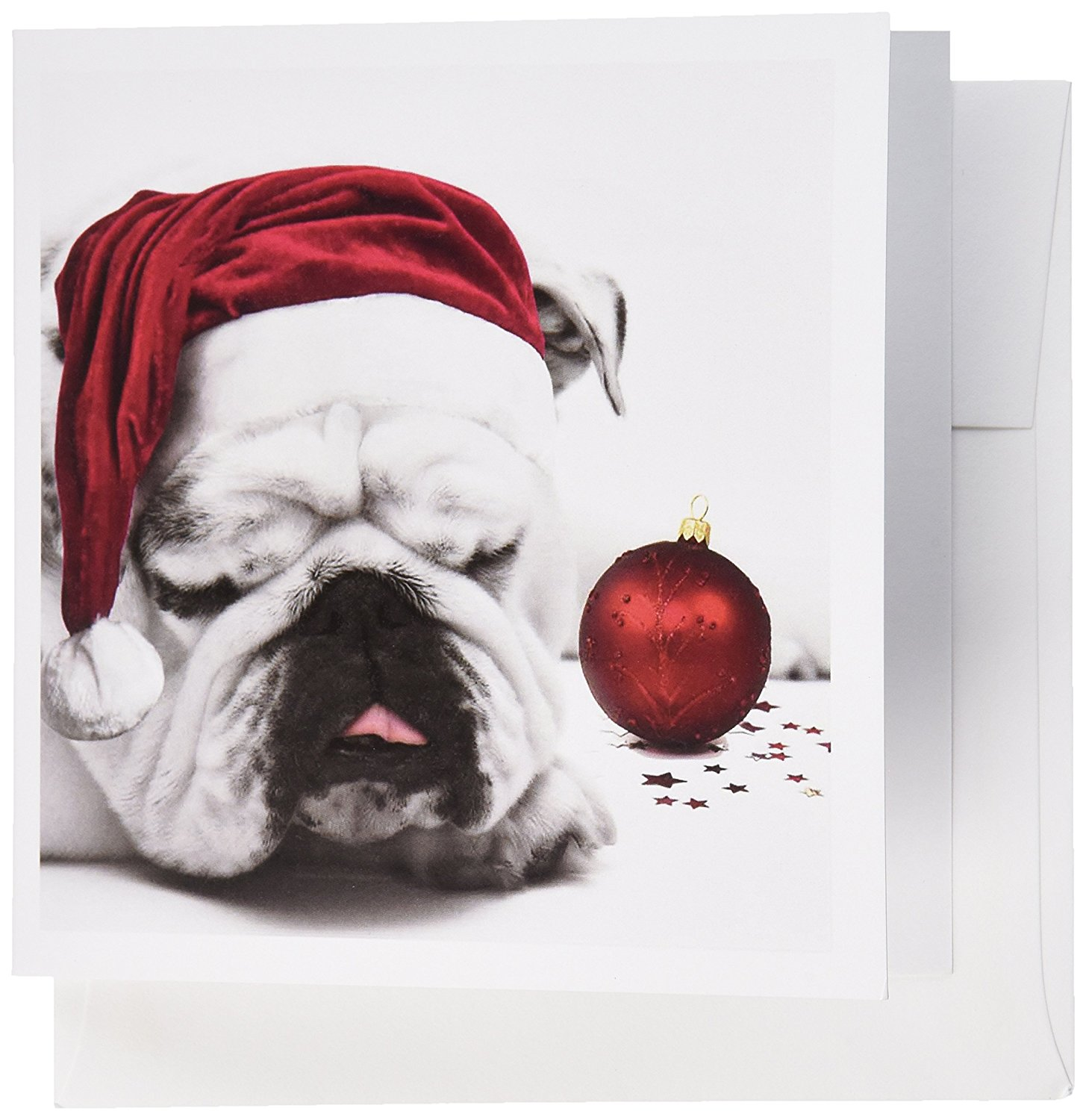 Buy 3dRose English Bulldog Christmas Wearing Santa Hats - Greeting ...