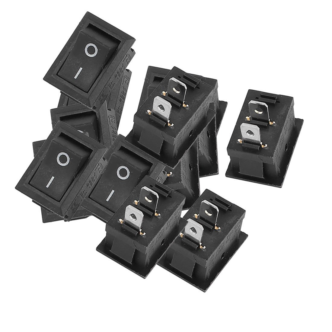 uxcell AC 6A/250V 10A/125V ON-OFF I/O SPST Boat Rocker Switch Black 15 Pcs