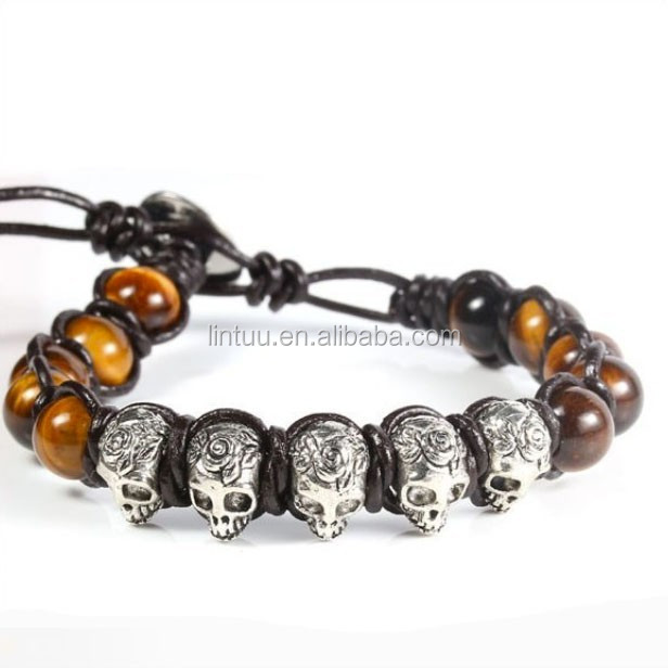 Yiwu wholesale genuine leather bracelets stingry leather with skull