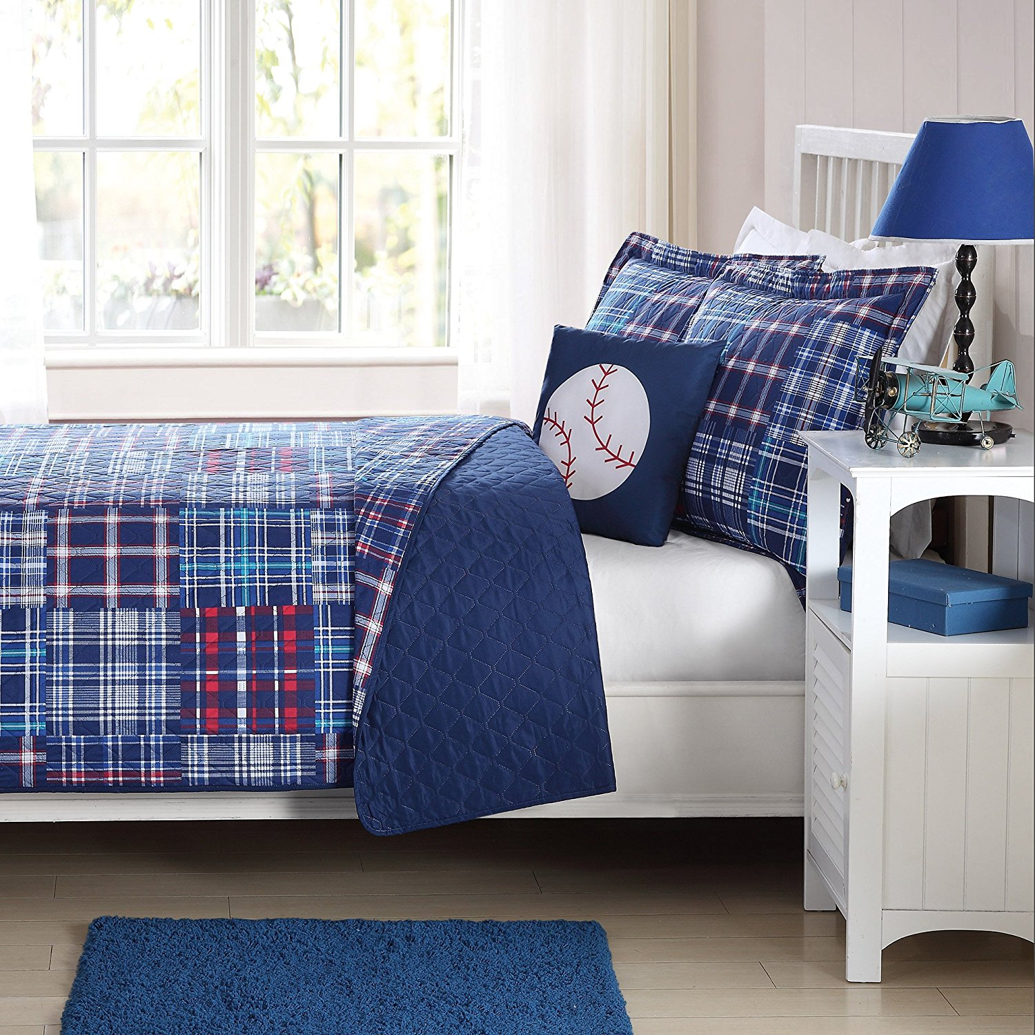 MI 3 Piece Blue Kids Plaid Twin Quilt Set, Baseball Theme Pillow Cabin Lodge Checkered Pattern Bedding,Lumberjack Rugby Stripe Tartan Madras Patchwork Horizontal Vertical Striped Squares, Microfiber