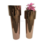 Giant metal stainless steel floor tall vase decorative flower vase