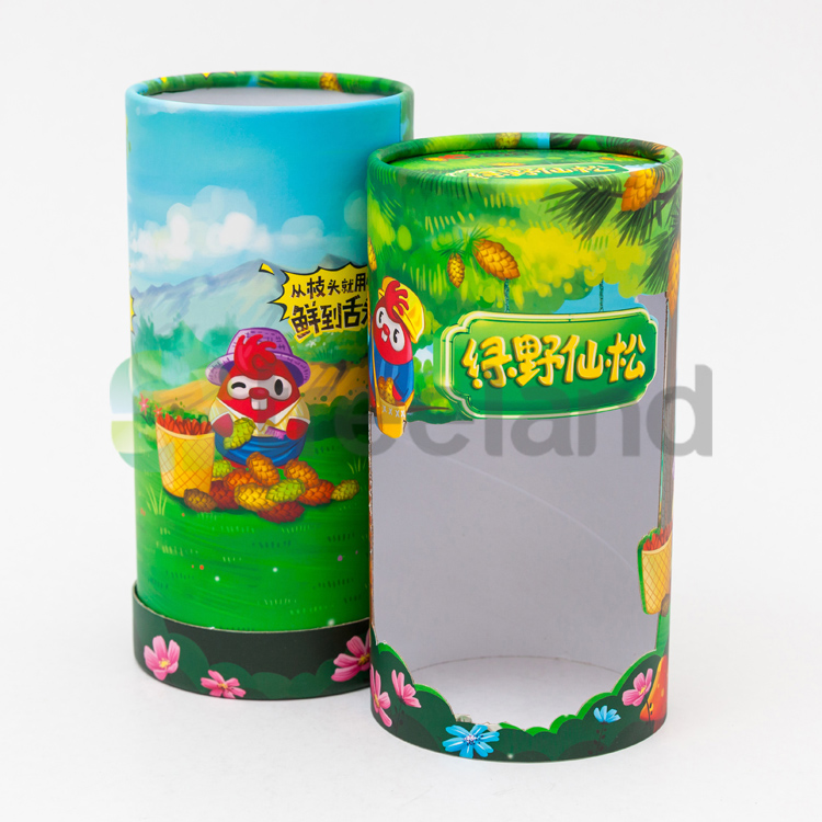 Custom Recycled Cylinder Side-window Bottle Paper Tube Packaging