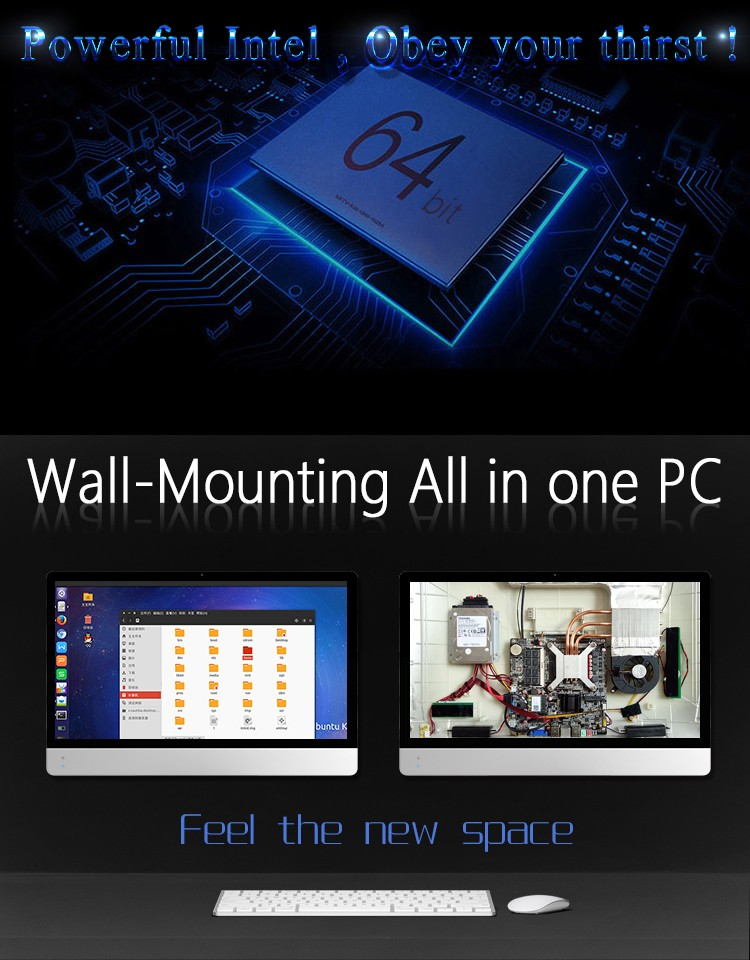 Factory support high performance 21.5'' screen size wall-mounting AIO computer with CPU 2.0GHz J1900