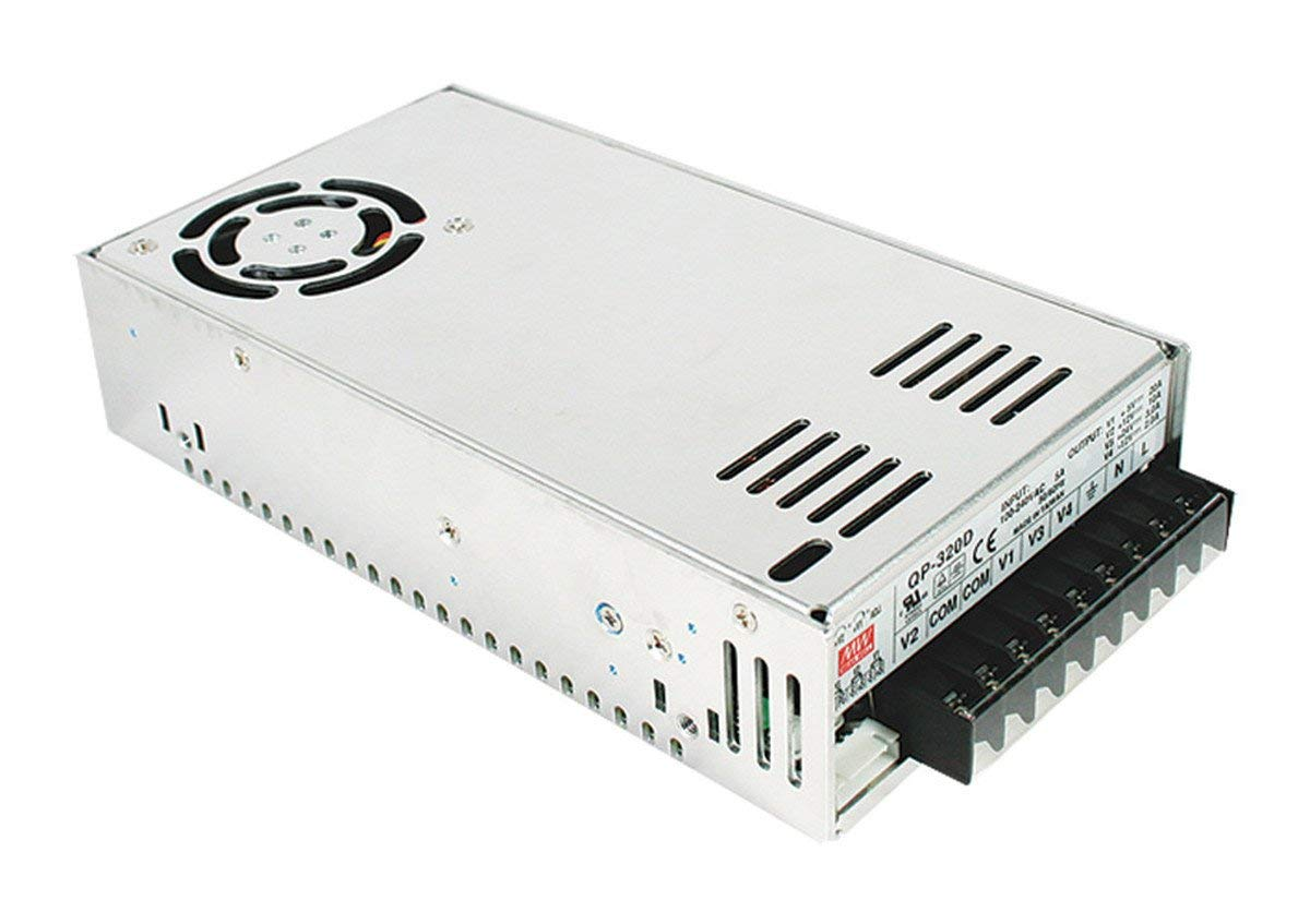 "Mean Well QP-320D Enclosed Switching AC-to-DC Power Supply, Quad Output, 316W, 4A, 2.0"" H x 4.5"" W x 8.5"" L"
