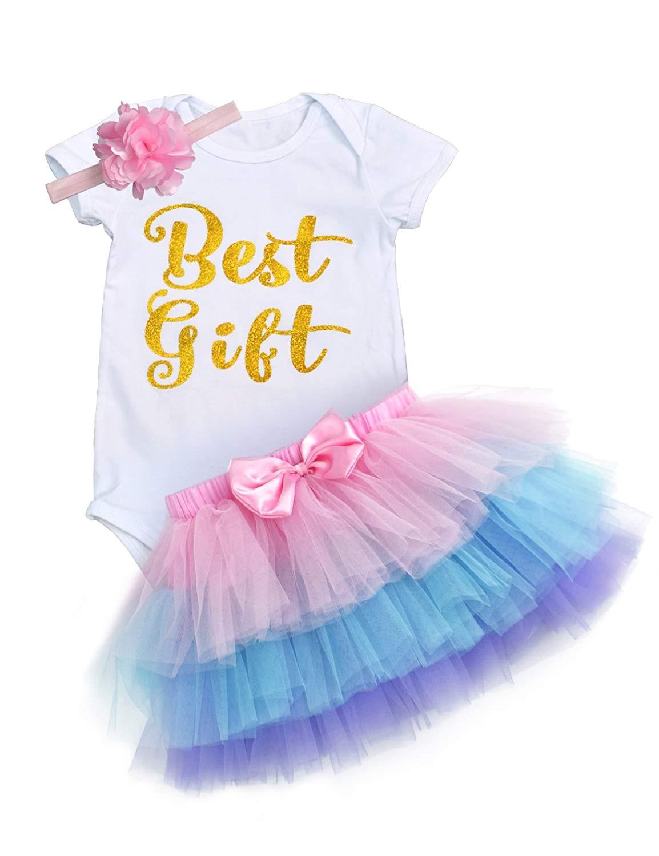 d4622db90 Get Quotations · Baby Girls' 6 Months/1st Birthday Party Romper Tops+Tutu  Skirt+Headband