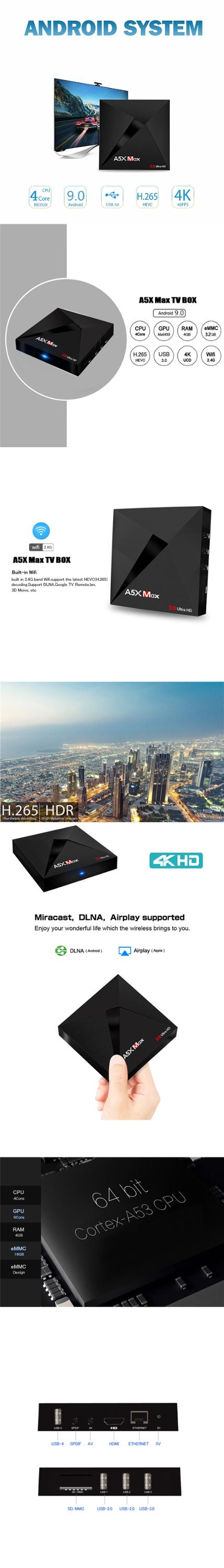 Latest TV Box A5X MAX RK3328 4Gb 16Gb INSTALLED KD player 18.0 With Add-ons 4K Android 9.0 Ott set top box wifi smart tv box