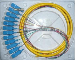 Bundle fiber optic pigtail series,FTTH 12 cores fan-out bundle and ribbon LC SC fiber optic pigtail 30% discount cable