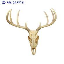 Atlantic Collectibles Rustic Hunter Deer 8 Point Deer Skull Antler Rack Wall Mounted Plaque Trophy Decor Figurine