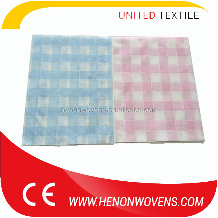 70%viscose/30%polyester Printed grid spunlace nonwoven fabric