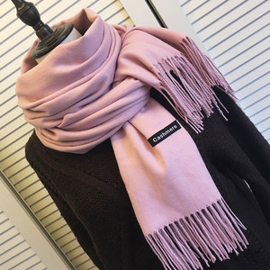 Autumn Winter Scarf Unisex 2018 Female Male Wool Cashmere Scarf Pashmina Tassels Women Men Wrap Plain Thickening Shawl