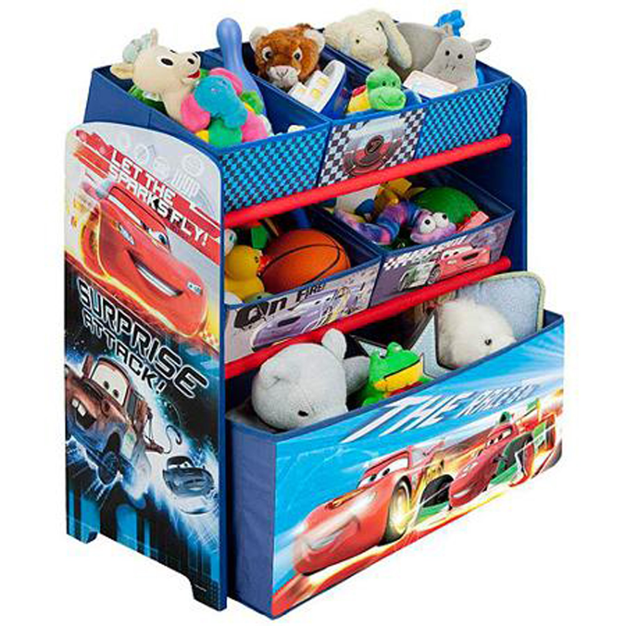 Disney Cars Multi Bin Toy Organizer Blue Well-constructed Wood Design Sturdy Safe Storage Space Plenty of Room Bright Splash of Colors Constructive Functional Toy Bin Organizer