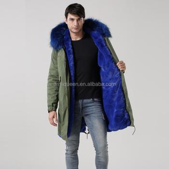 Hot Sale Latest Blue Faux Fur Lining Men Turkey Fur Coat For ...