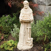 Garden Decor-Durable Polyresin St. Francis Bird Feeder Statue