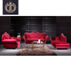 Italian design antique red velvet sofa living room furniture red button tufted chesterfield upholstered sofa set