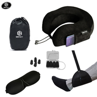 Amazon airplane memory foam neck pillow travel set kit with eye mask ear plugs and Hammock foot rest