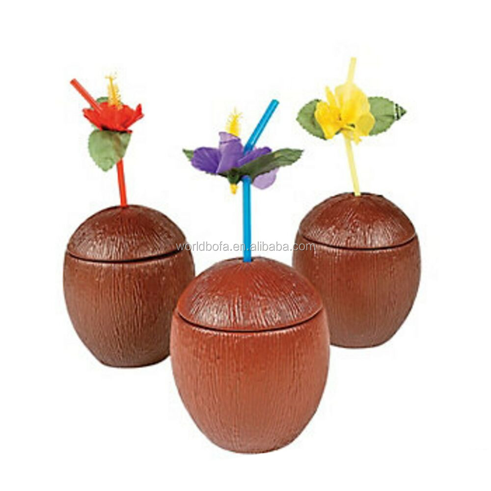 Realistic brown plastic coconut cup with straw TIKI mug