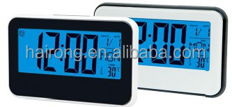 Hairong table led alarm clock voiced contolled with time and date display