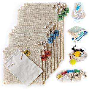 Cotton Mesh Reusable Produce Bags, Natural Cotton Mesh is Biodegradable, Recyclable Packaging, Machine Washable, Durable
