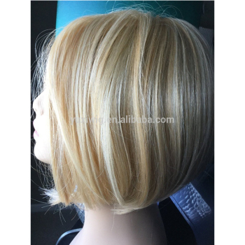 2016 New Ombre blonde and two tone color human hair short bob lace front wig #27+#60
