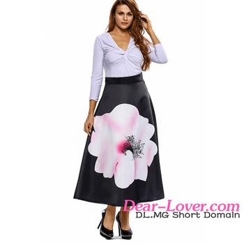 c4d25523da Moda Mujer Elegante Alta Cintura Flor Impresión Falda Larga - Buy ...