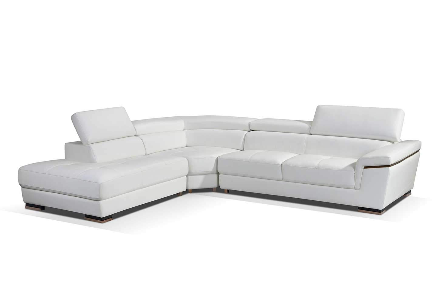 ESF Furniture 2383 Leather Left Hand Facing Sectional Sofa in White