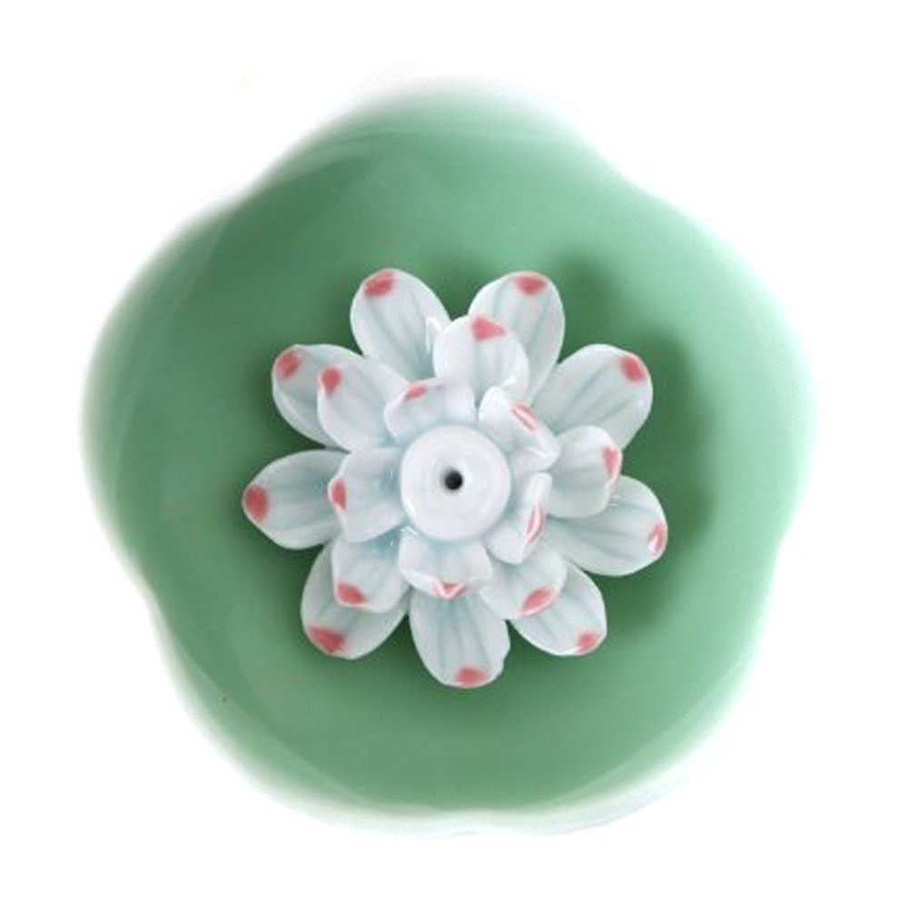 Buy ieasysexy autofor lotus water lily flower ceramic incense ieasysexy autofor lotus water lily flower ceramic incense burner handmade beauty green porcelain charms holder izmirmasajfo