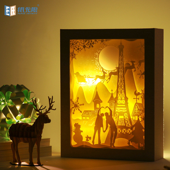 Christmas romance night light usb power photo frame lamp paper carving lamp for home decoration