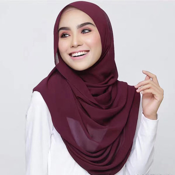 High quality headband beach popular summer 78 solid color muslim hijab shawls plain bubble chiffon scarf