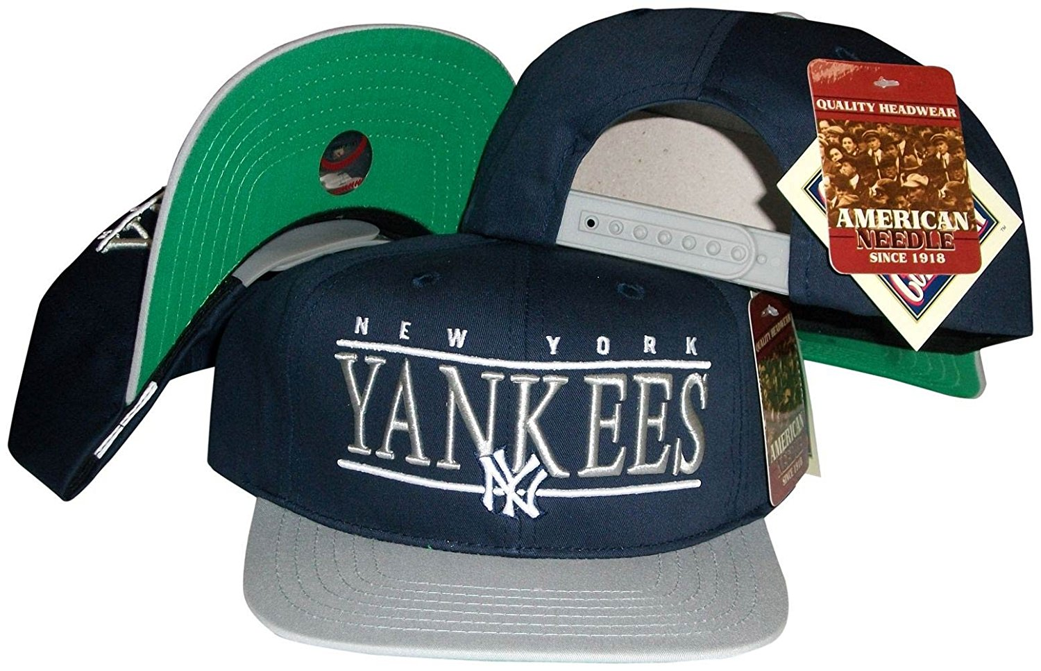 f273d5c6922 Get Quotations · New York Yankees Navy Grey Two Tone Snapback Adjustable  Plastic Snap Back Hat   Cap
