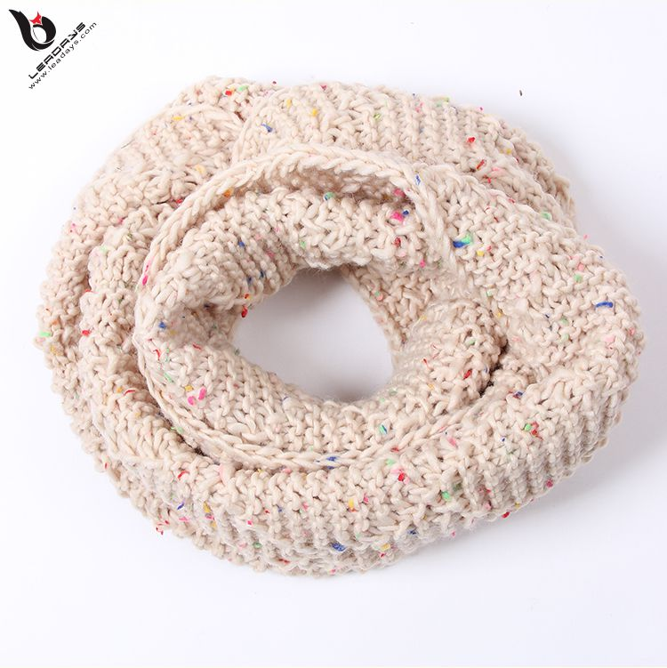 Custom Perfect Accessory Knitting Infinity Fancy Pattern Free Multicolor Fashion Winter Acrylic Scarf