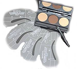 Eyebrow Shaping Powder Palette + 4 Stencils + Eyebrow Wax Makeup Kit