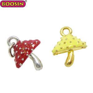 Colorful Solid Mushroom Shaped Enamel Pendant Charms For Jewely Making