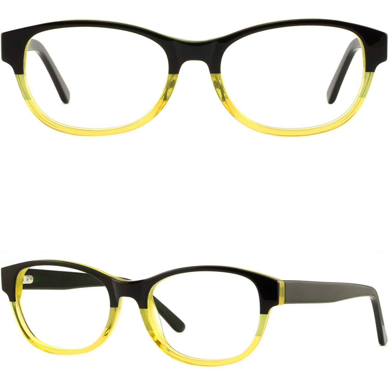0fad1de56e51 Get Quotations · Mens Womens Plastic Frames Acetate Prescription Eyeglasses  Glasses Spring Hinges