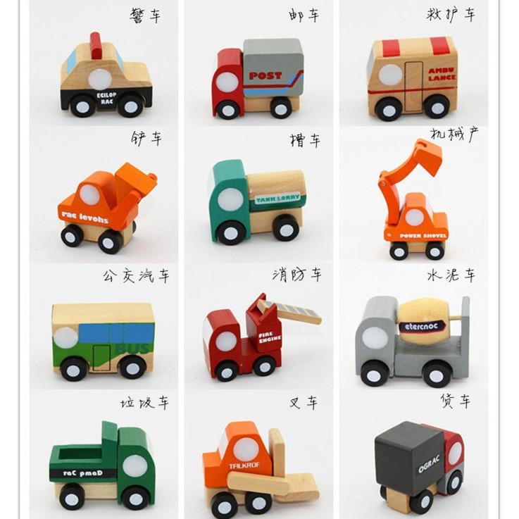 Madera Coches Lot Ingeniería 12pcs Para Mini Vehículos Educación Nuevos De Juguetes Niños Camiones zVSGLqjUMp